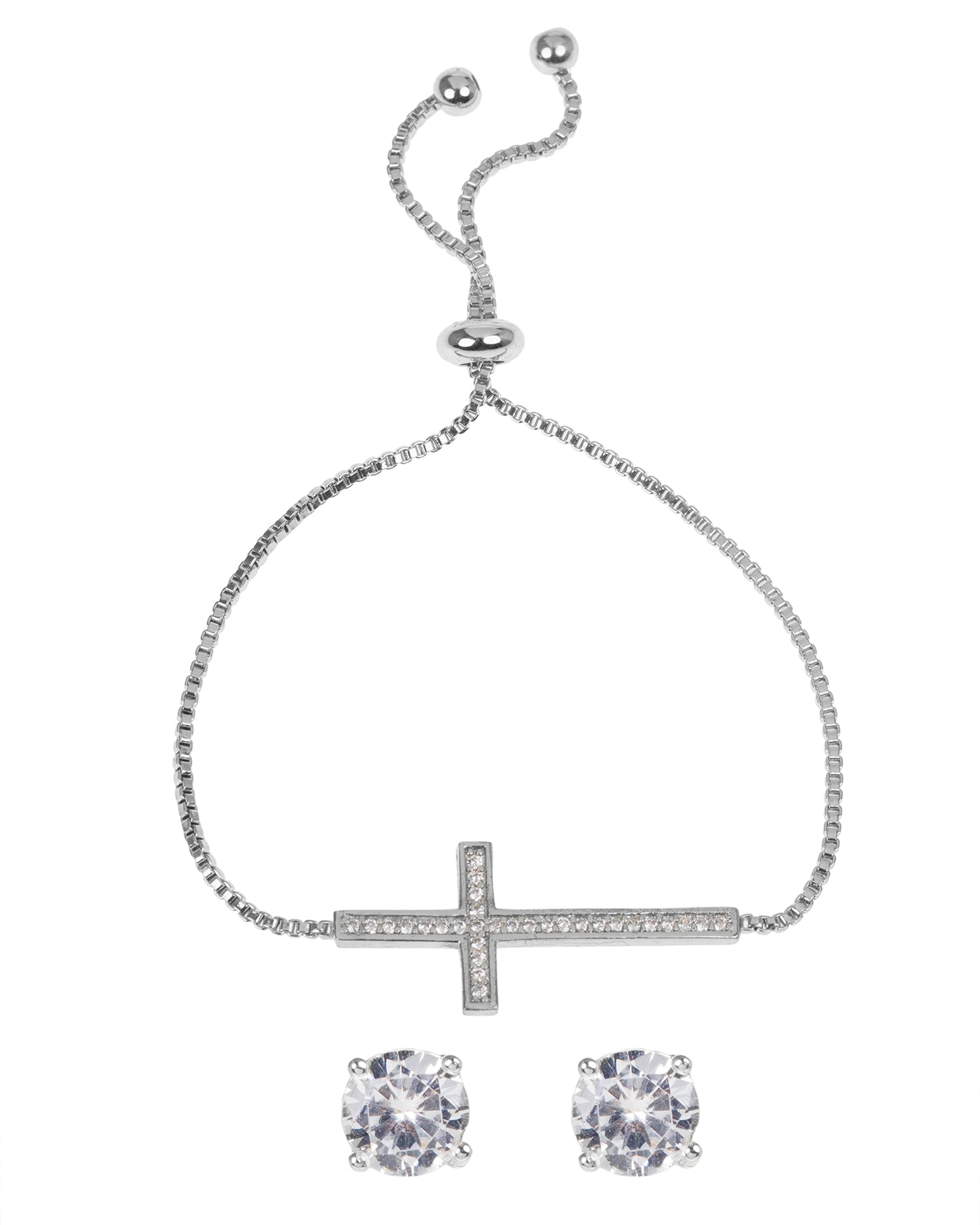 Pave CZ Cross Bolo Bracelet with Round Stud Earring Set
