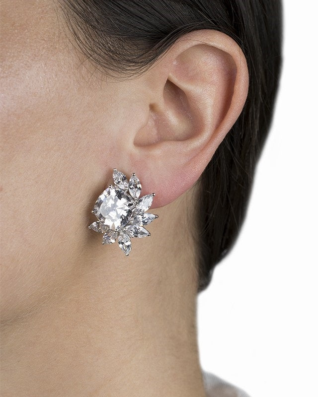 Cushion Clip On Earrings