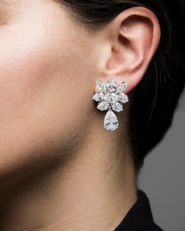 Marquise and Pear CZ Cluster Earrings