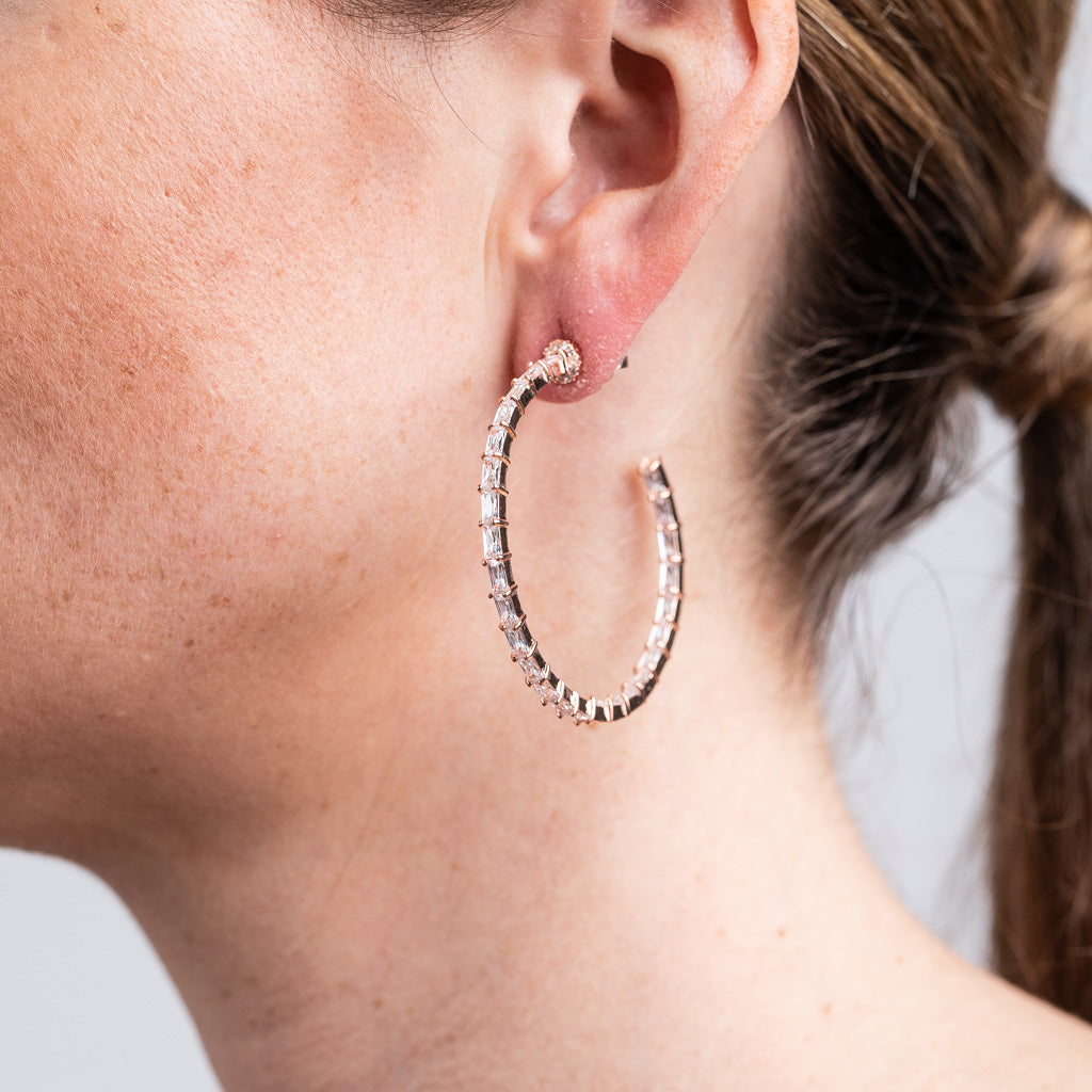 Rose Gold Baguette Inside Out Hoop Earrings