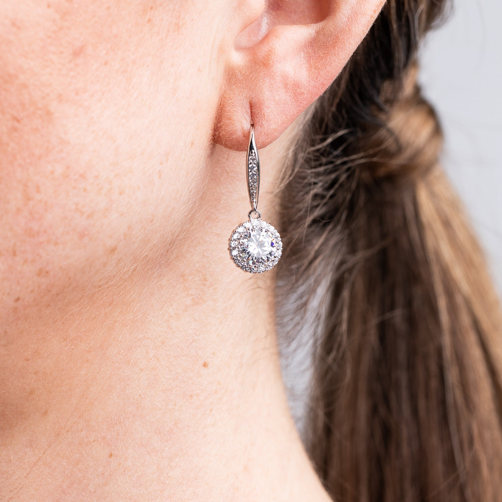 Round Halo Drop Earring
