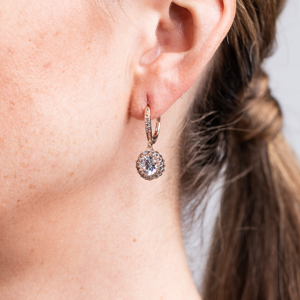 Classic Rose Gold Plated Round Drop Pierced Earrings