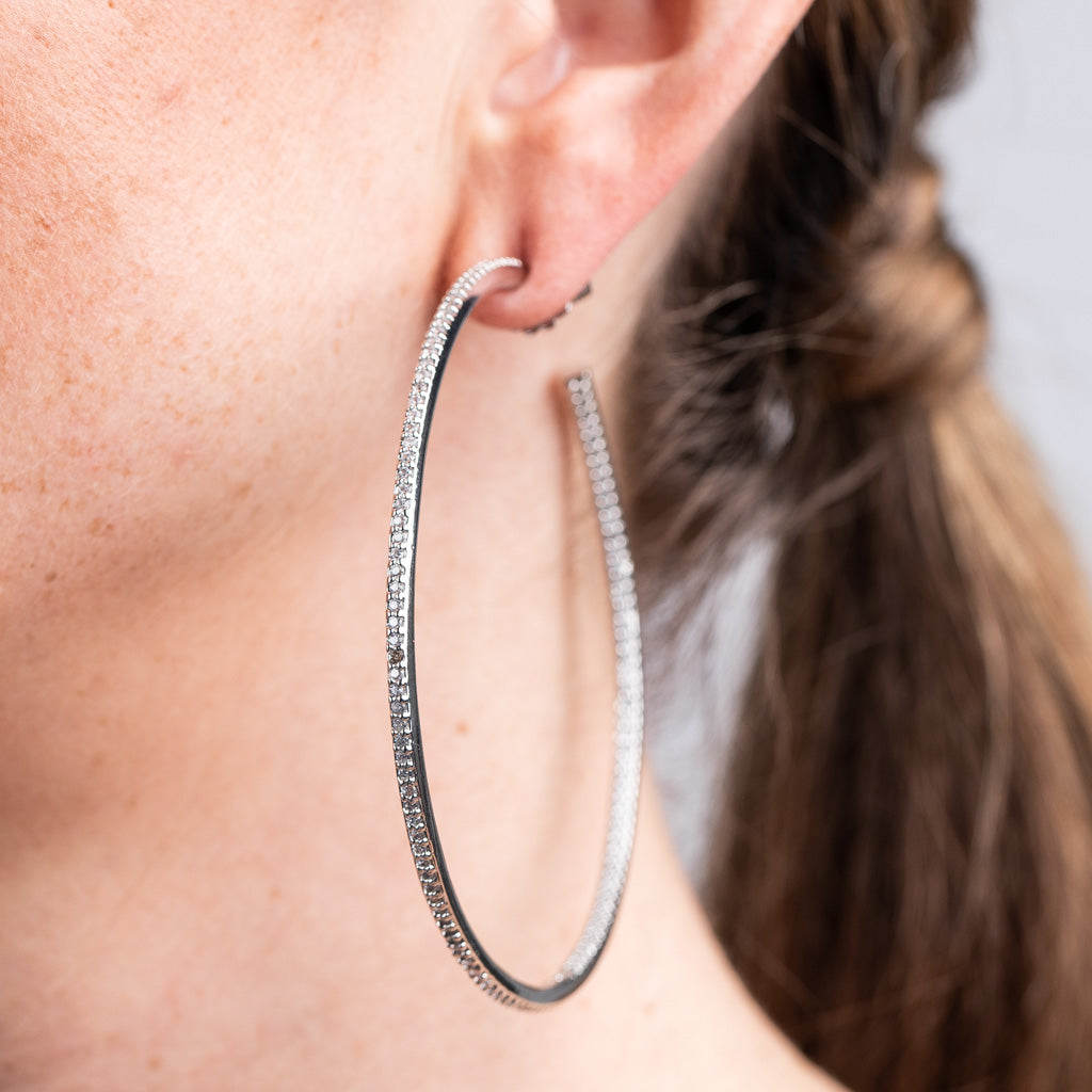 Large Pave Hoop Earrings