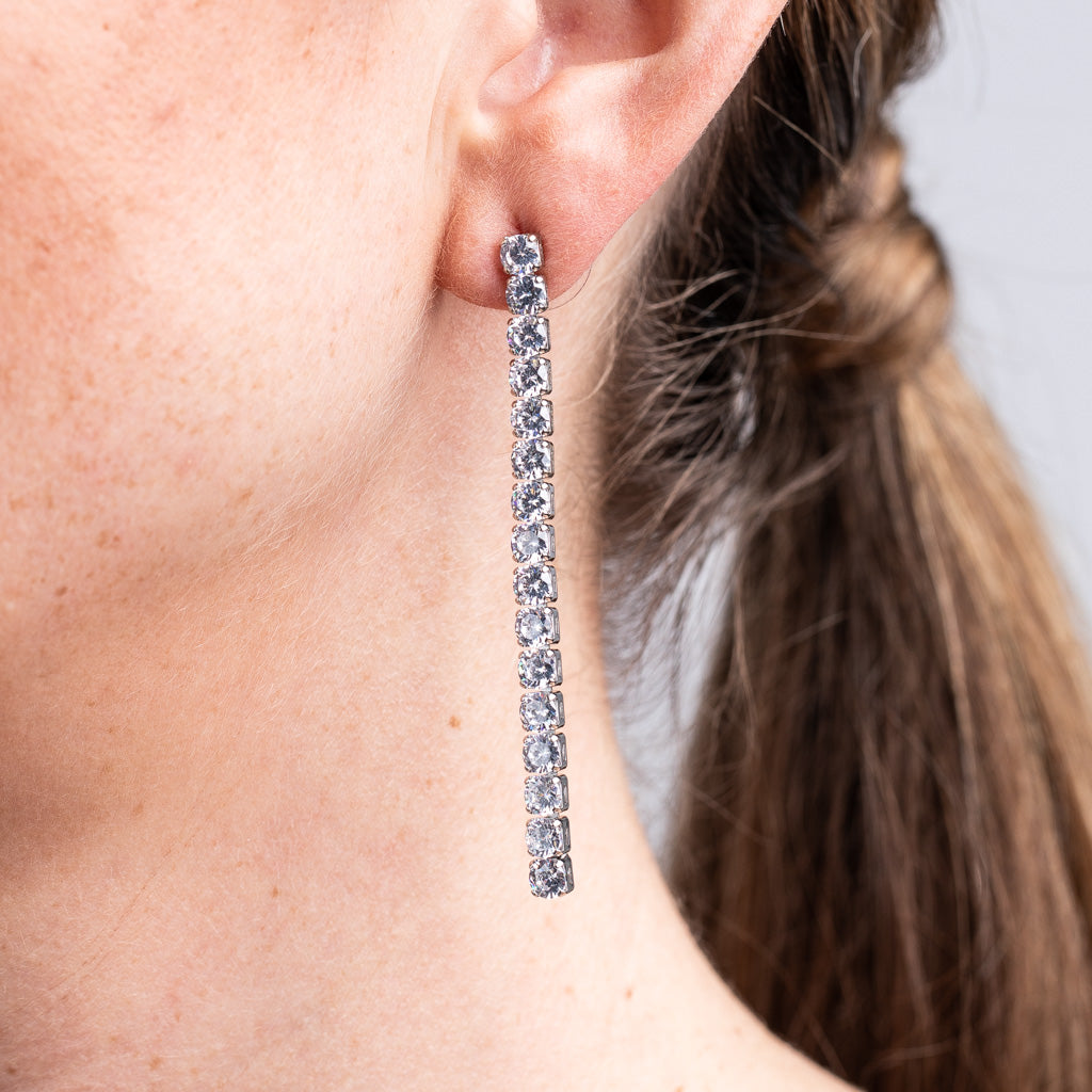 Round Vertical Drop Earrings