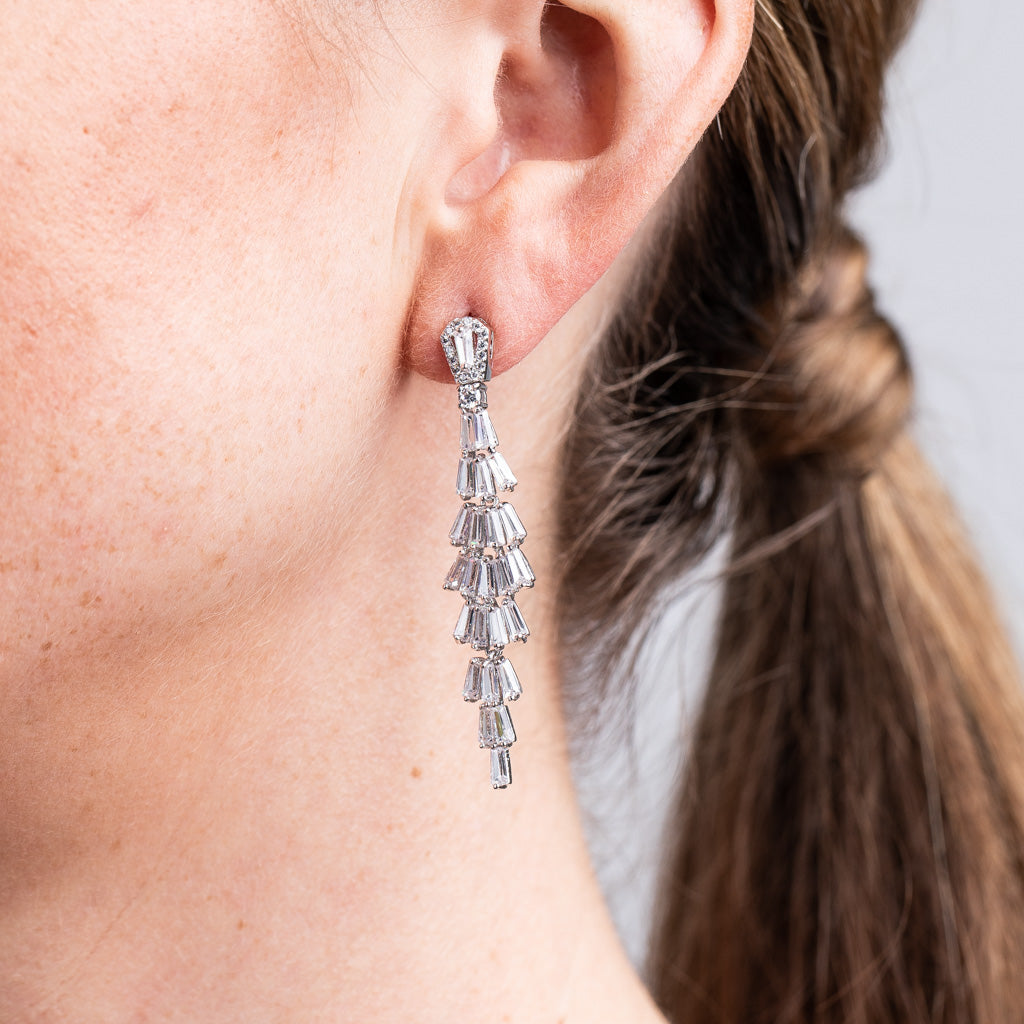 Tiered Baguette Drop Earrings