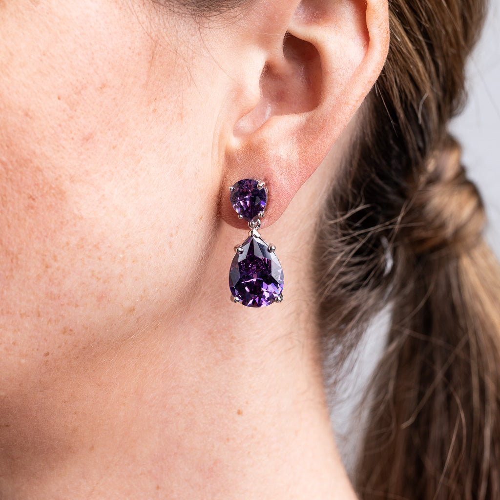 Amethyst Double Pear Drop Earrings