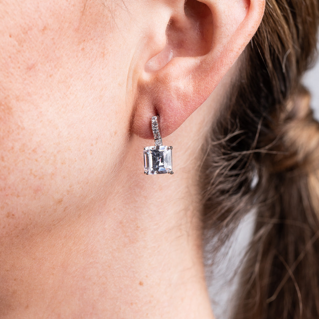 Princess Cut Drop Pierced Earring