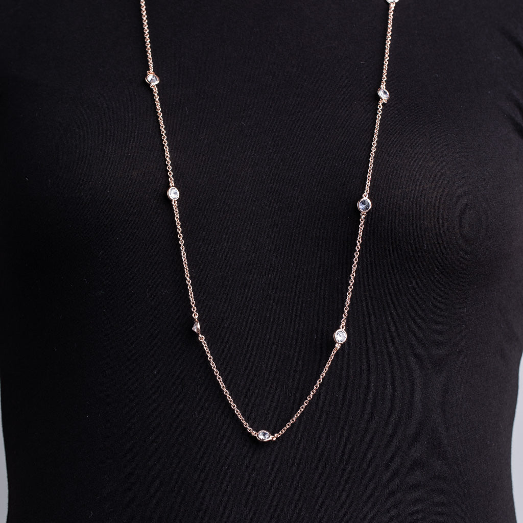 "36"" Rose Gold Station Necklace"