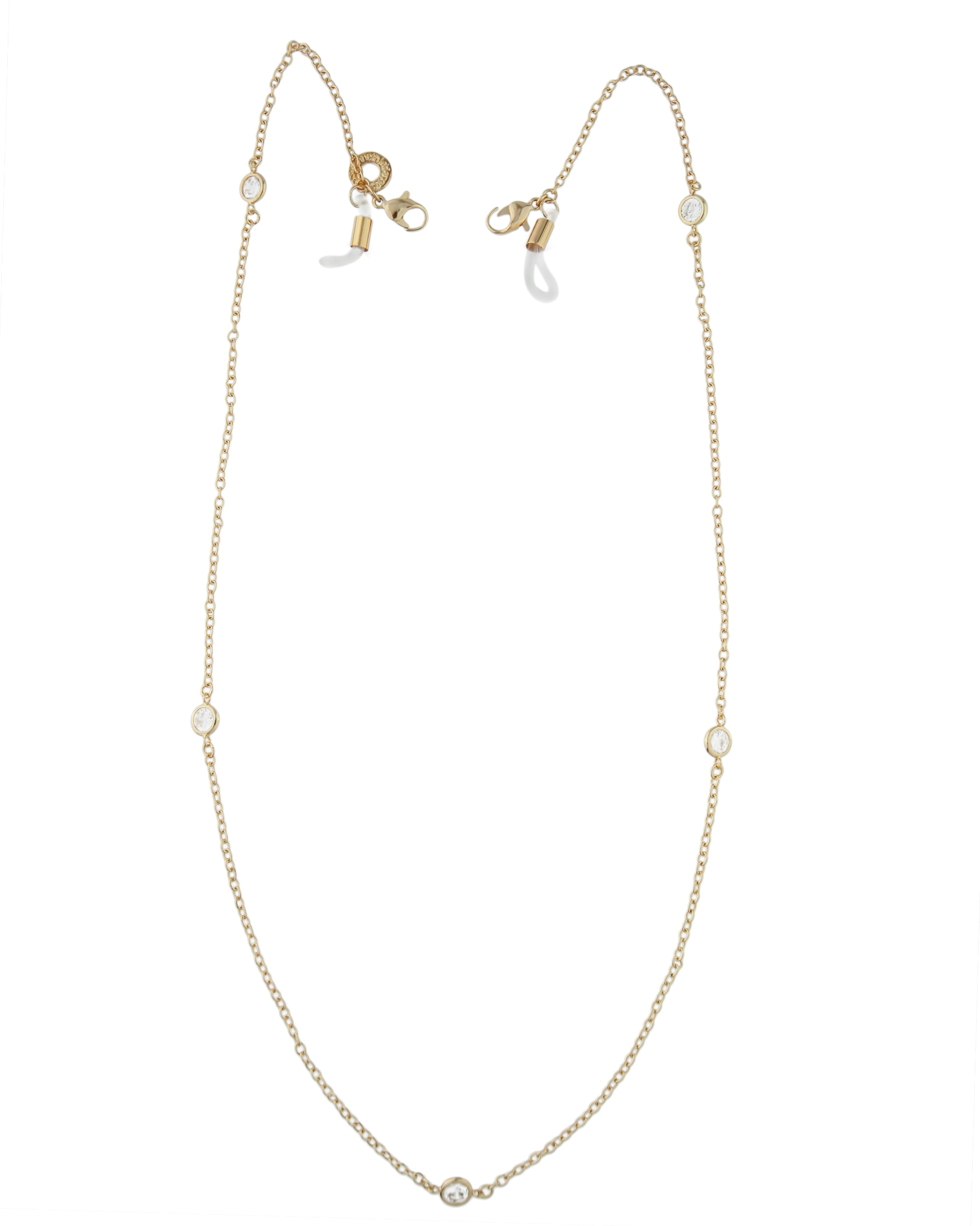 CZ Station Mask Chain Gold Plated