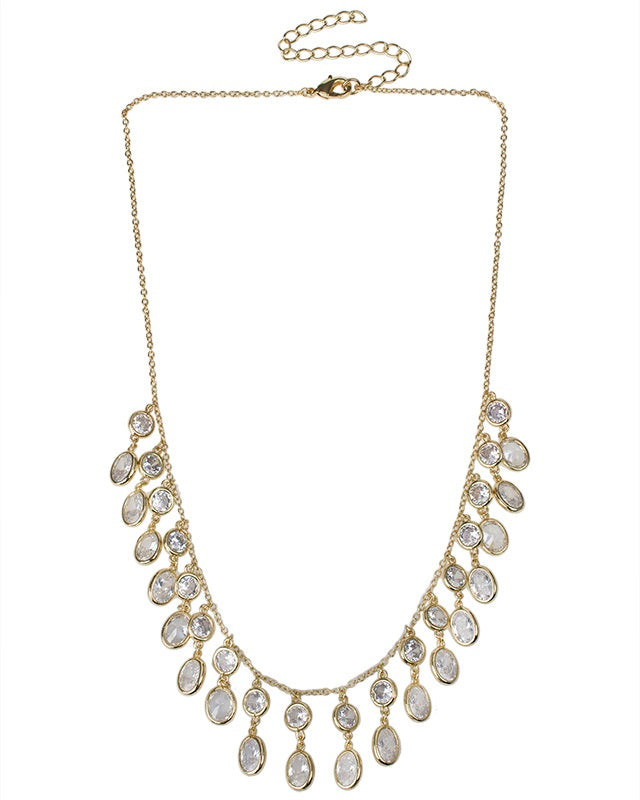 Oval and Round CZ Fringe Necklace