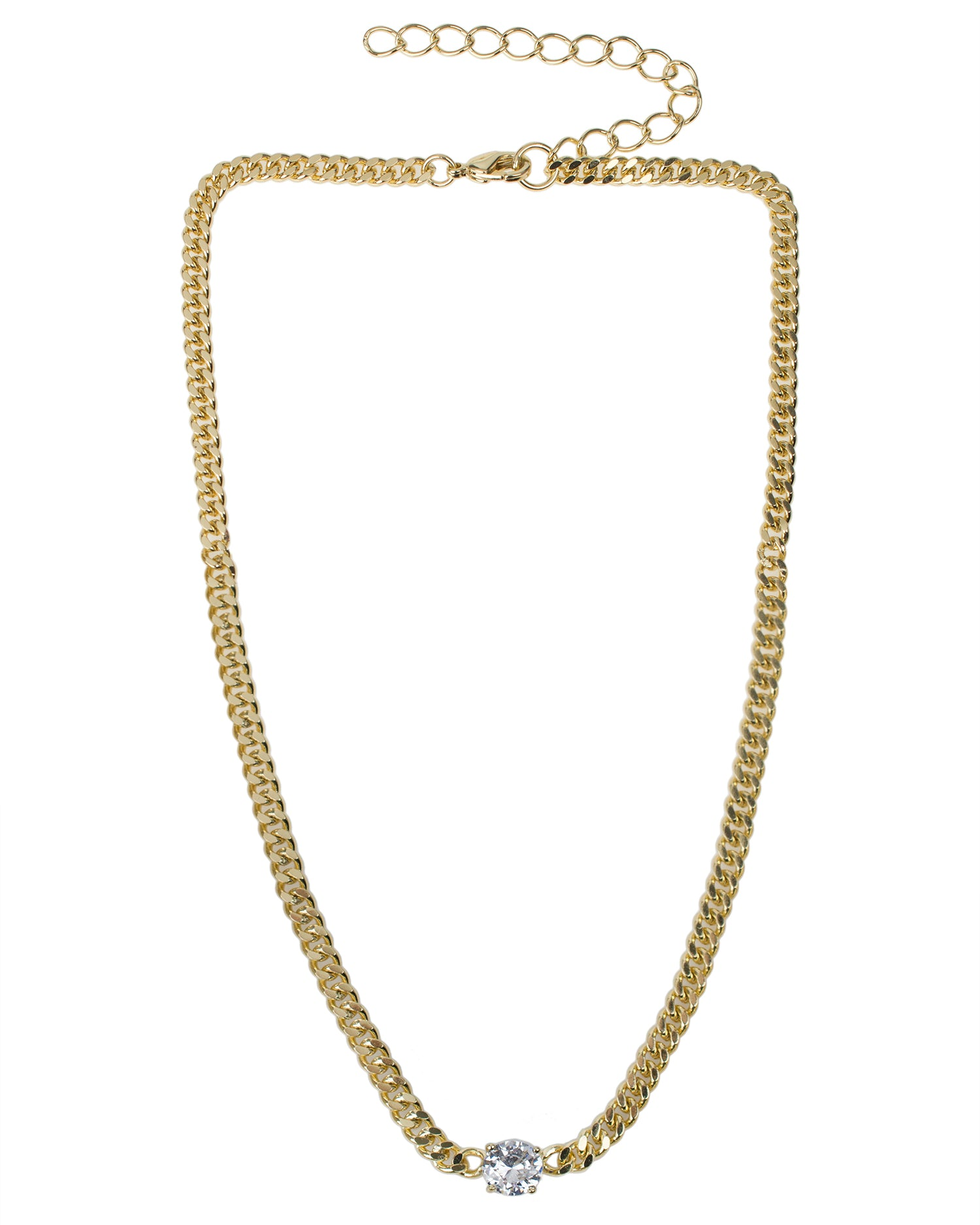 Curb Chain Necklace with Round CZ
