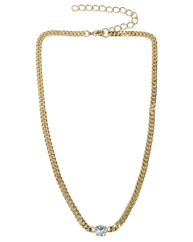 CZ and Chain Double Layered Necklace