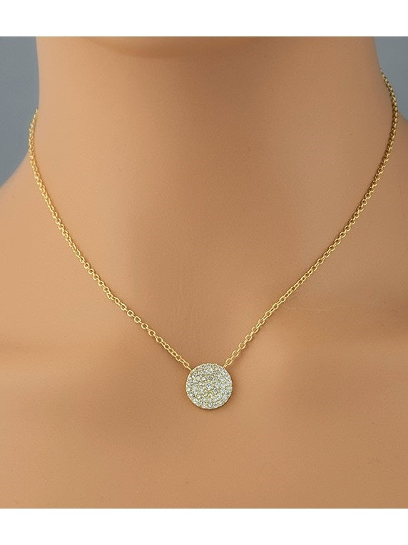 Pave Disc Pendant Necklace