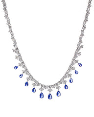 Round and Pear Sapphire CZ Necklace