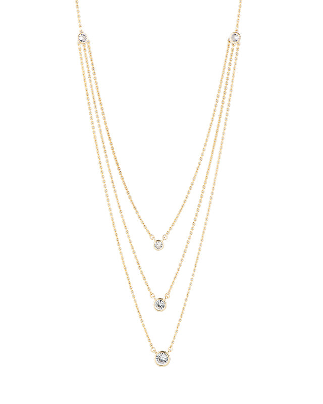 Triple Round CZ Layered Necklace