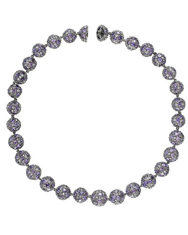 Amethyst/Clear Round Pave Ball Stations
