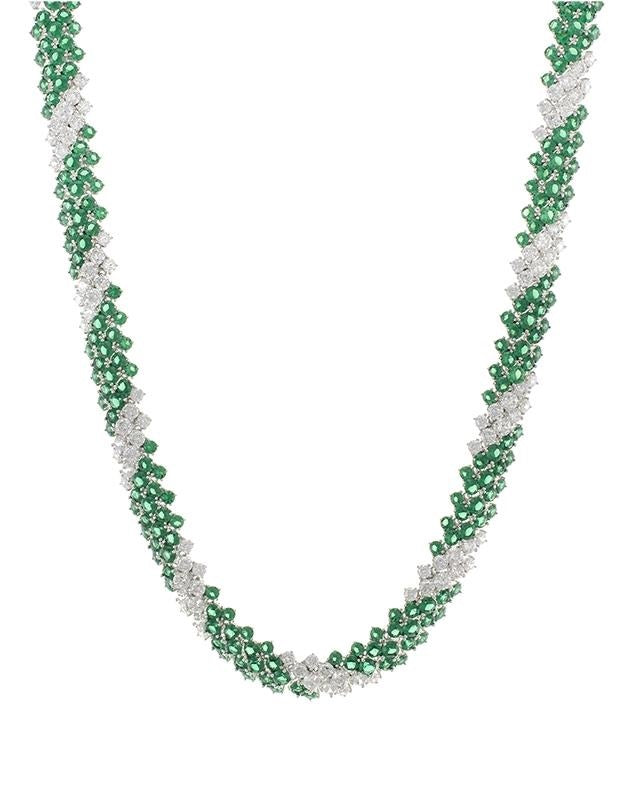 Emerald CZ Spiral Necklace
