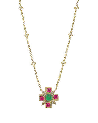 Ruby and Emerald Maltese Cross Necklace