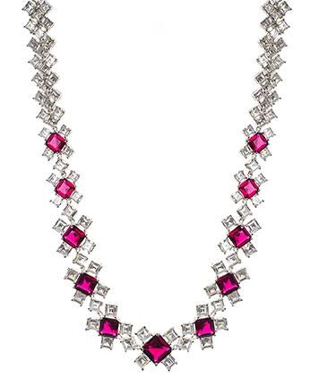 Ruby CZ Mosaic Necklace