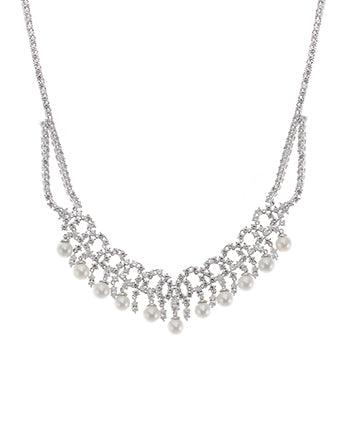 CZ and Pearl Bib Necklace
