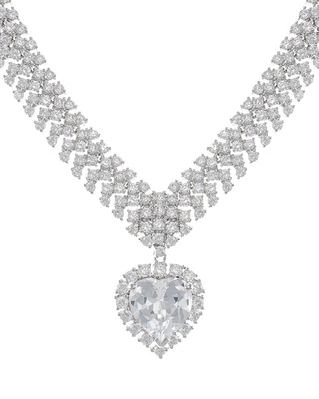 Statement CZ Heart Necklace