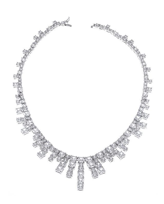 Cushion and Round CZ Fringe Necklace