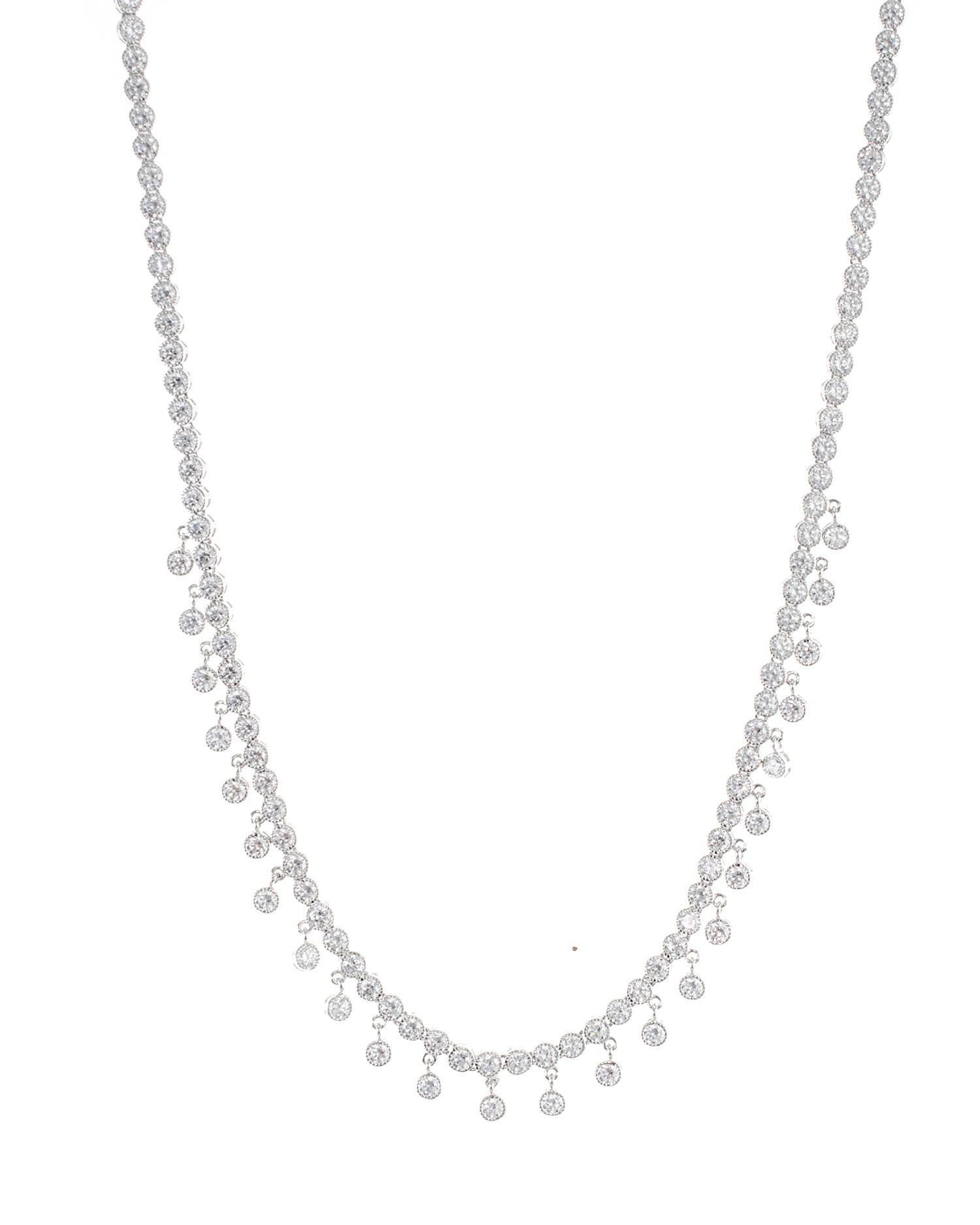 Round CZ Dangle Necklace