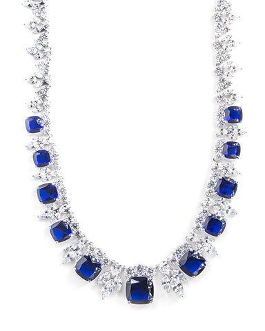 Blue Sapphire Cushion Statement Necklace