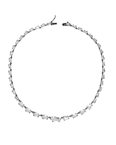 CZ Pave Bamboo Collar Necklace