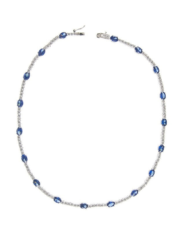 Round CZ and Blue Sapphire CZ Necklace