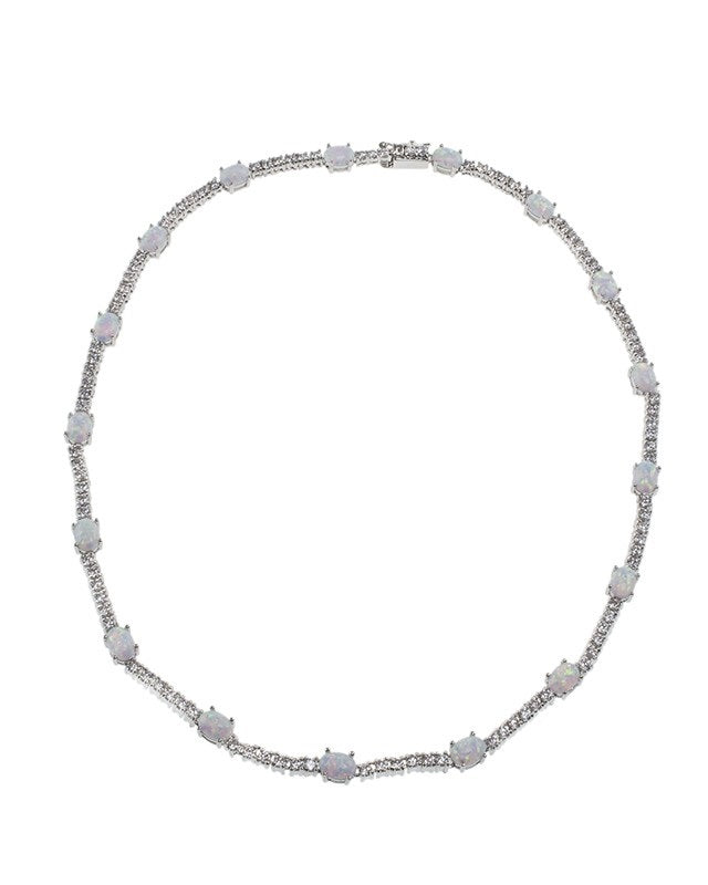 Round CZ and Opal Necklace