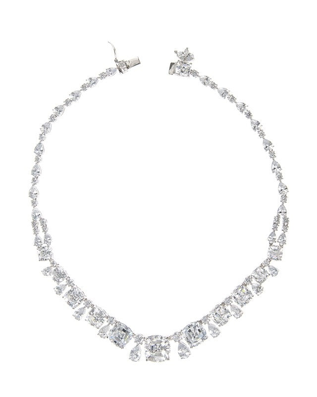 Cushion and Pear CZ Necklace