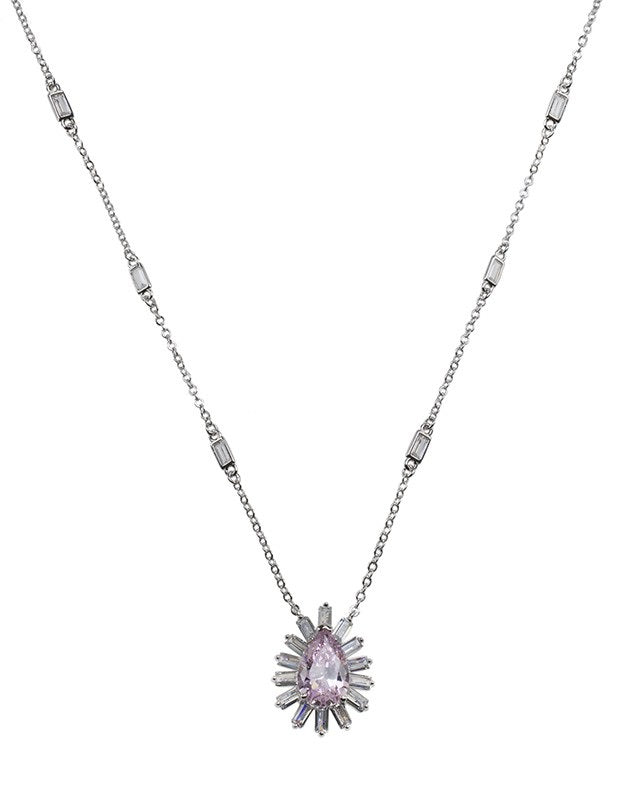 Pink Pear CZ Pendant Necklace