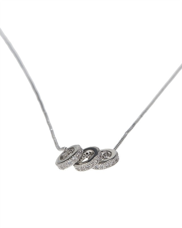 Pave Triple Ring Pendant Necklace