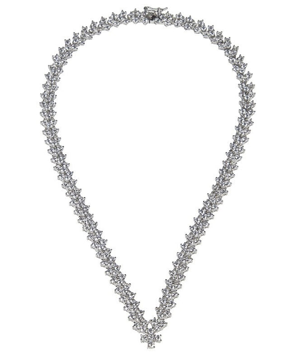 TRIPLE ROUND CZ CHEVRON NECKLACE