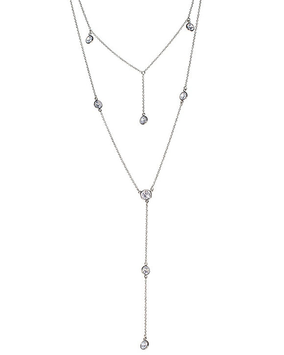 Layered CZ Y-necklace