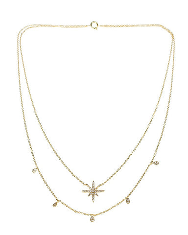 Double Strand Star Pendant Gold Plated