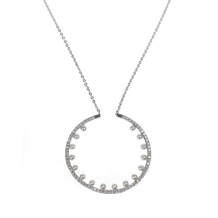 CZ and Pearl Open Circle Necklace
