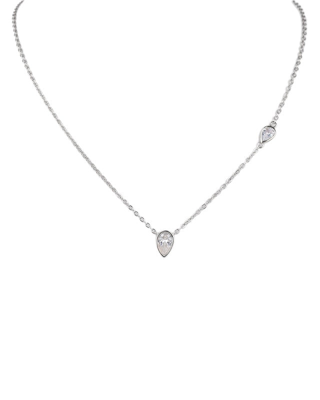 Pear Bezel Set Pendant Necklace