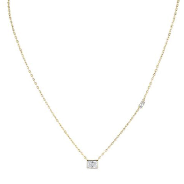 Emerald Cut Yellow Gold Plated Pendant Necklace