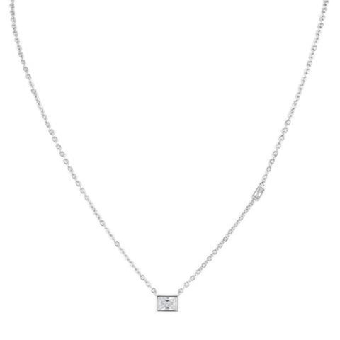 Round and Pear CZ Station Necklace