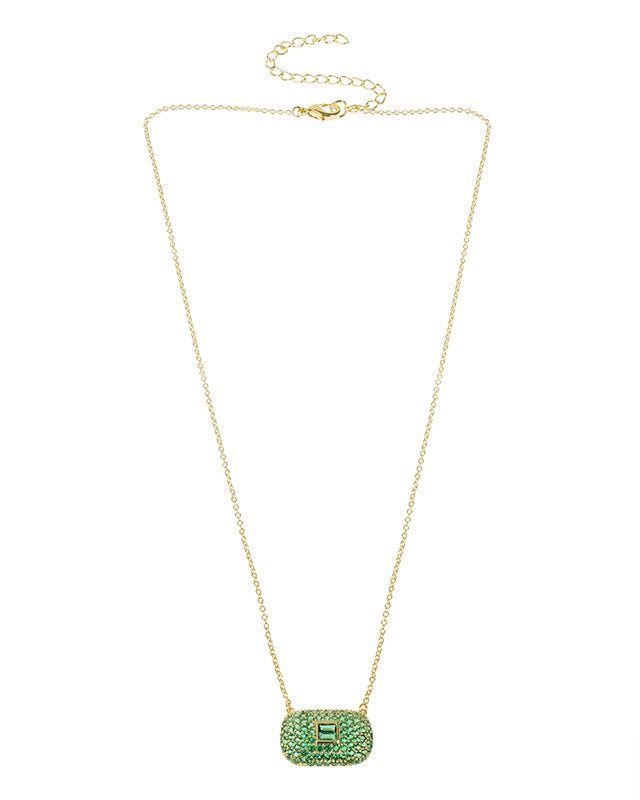 Emerald CZ Bar Necklace