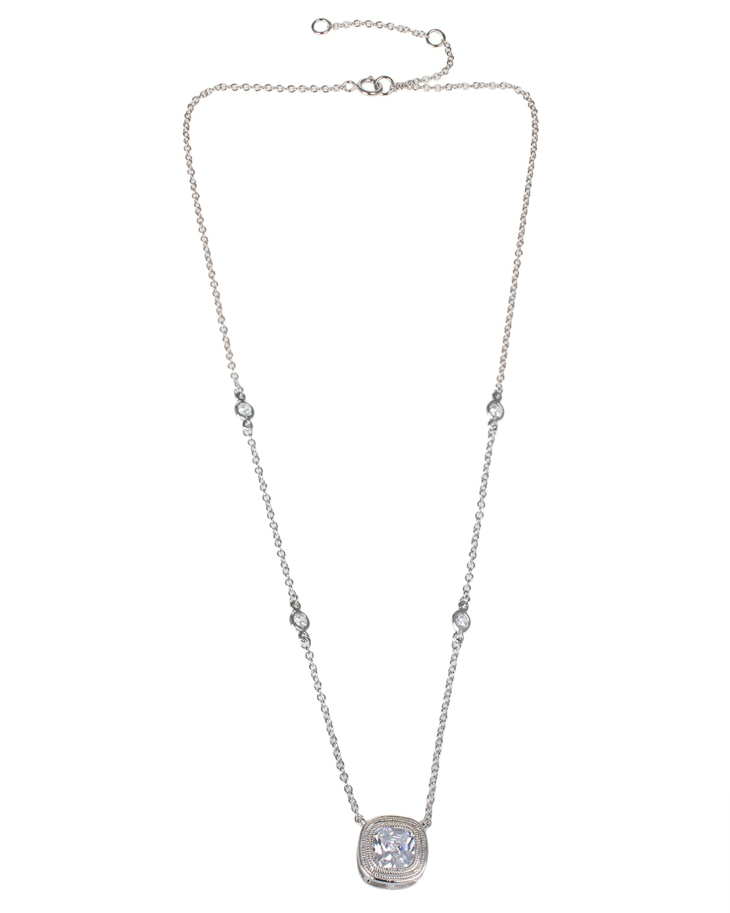Cushion CZ Pendant Necklace