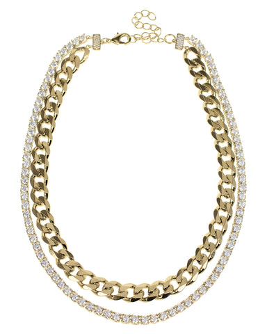 Curb Chain Necklace with Pear CZ