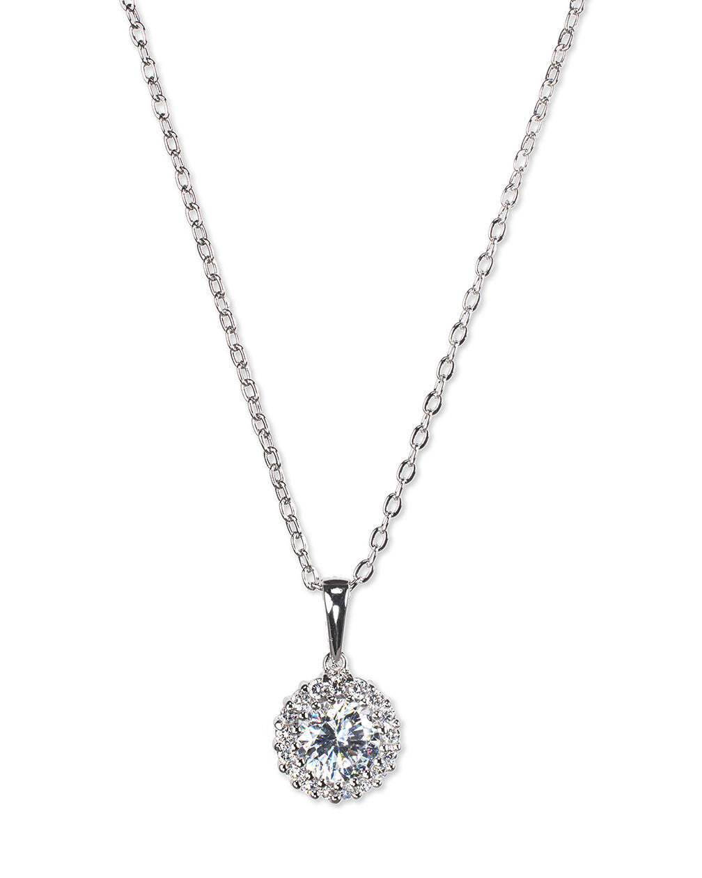Round Halo Pendant Necklace