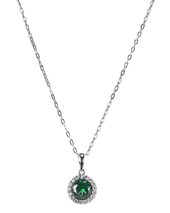 Emerald Round Halo Pendant Necklace