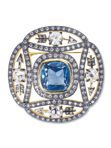 Aquamarine Blue Eternity Brooch
