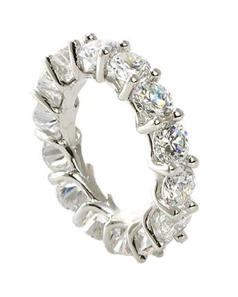 Round CZ Prong Set Eternity Band
