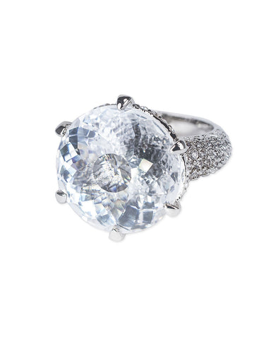 Round And Pave Shank Ring