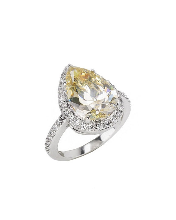 Canary Pear CZ Ring